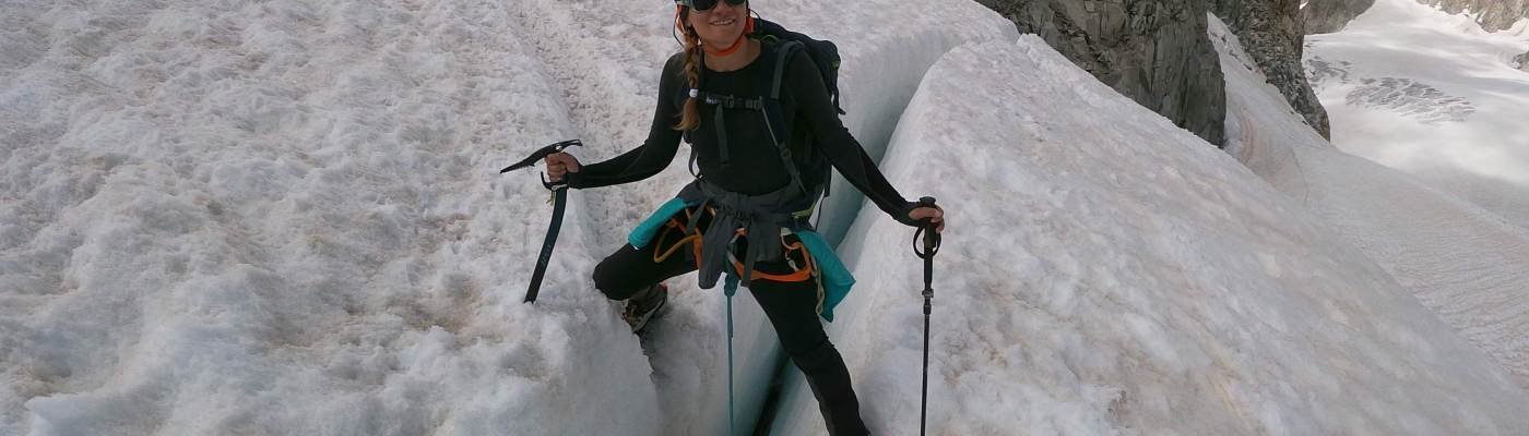In snow with axe climber